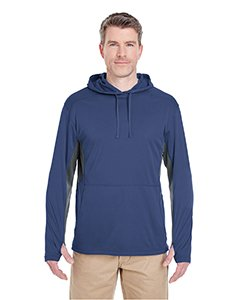 UltraClub Adult Cool & Dry Sport Hooded Pullover S Navy/ Charcoal