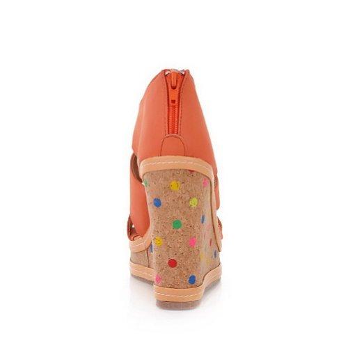 Amoonyfashion Donna Open Toe Tacco Alto Zeppa Piattaforma Materiale Morbido Pu Sandali Solidi Con Cerniere Arancione