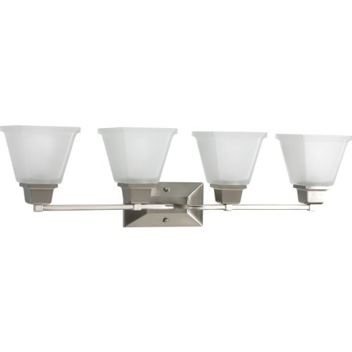 Progress Lighting P2745-09 4-Light Bath Fixture with Square Etched Glass and Can Mount Up Or Down, Brushed Nickel