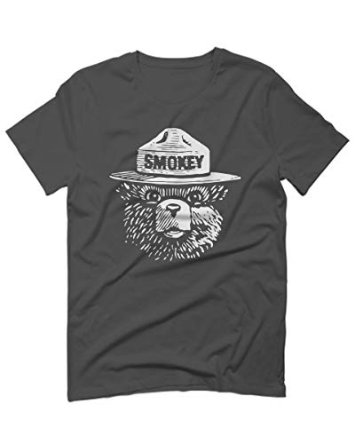 White Hipster Vintage Smokey The Bear Graphic for Men T Shirt (Charcoal Small)