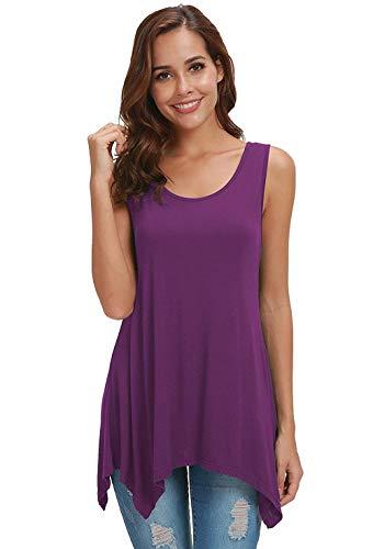 - AIDIER Tank Tops for Women Loose Flowy Sleeveless Tunic Casual Swing Shirt Cami Dark-Purple M