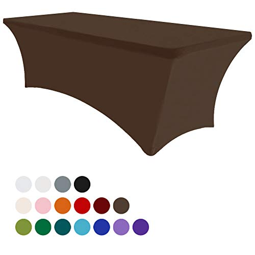 Eurmax 6Ft Rectangular Fitted Spandex Tablecloths Wedding Party Table Covers Event Stretchable Tablecloth (Cocoa)