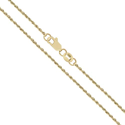 Classic 14k Gold Rope Chain - Orostar 14K Yellow Gold 1.5mm Diamond Cut Rope Chain Necklace (18)