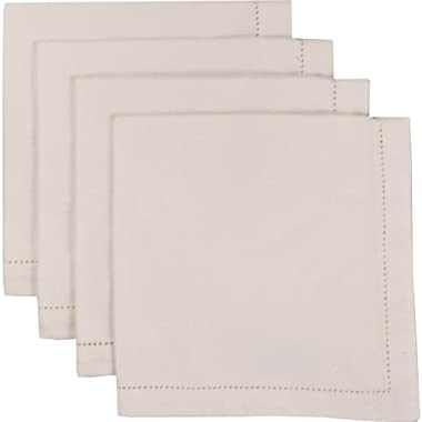 Now Designs Set of 4 Hemstitch Napkins, Ivory