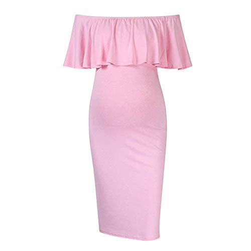 (Forthery Womens Pregnants Dress Ruffles Nursing Maternity Off Shoulder Short Sleeve Summer Maxi Sheath Dress(Pink,US Size L = Tag XL))