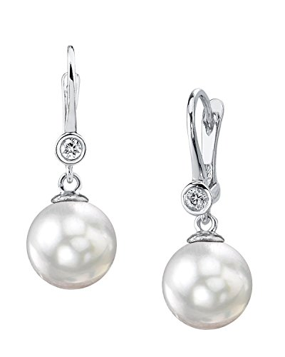 - THE PEARL SOURCE 14K Gold 11-12mm Round Genuine White South Sea Cultured Pearl & Diamond Michelle Earrings for Women