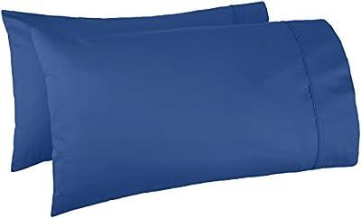 AmazonBasics 400 Thread Count Pillow Cases - Standard, Set of 2, Navy