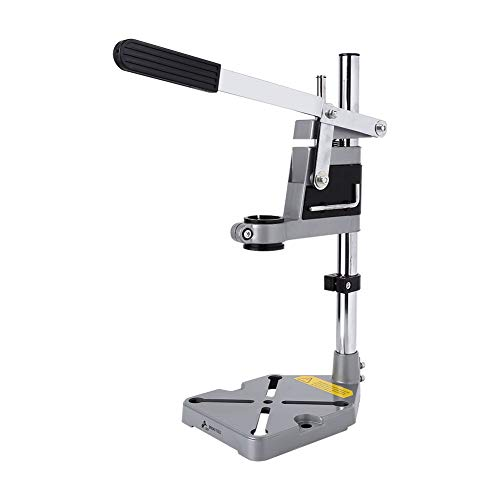 Liusin Adjustable Floor Drill Press Stand Table Benchtop Workbench Clamp Repair Tool for Drilling Collect Workshop, Single Hole Aluminum Base