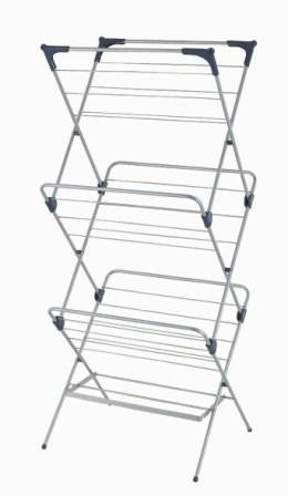 YBM Home 1582-10 3 Tier Foldable Clothes Water-Resistant Steel Drying Rack