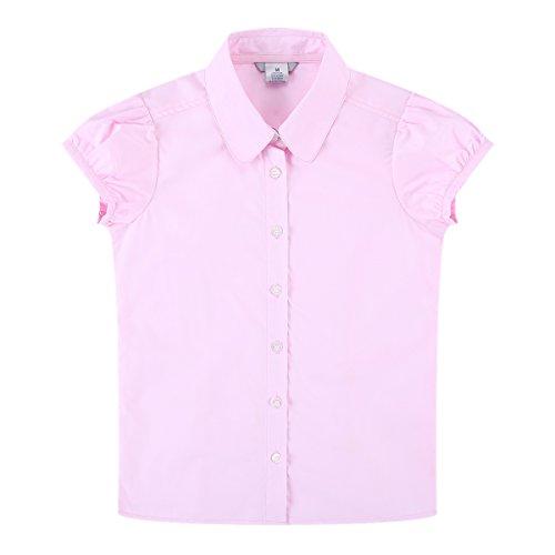 Bienzoe Big Girl's School Uniforms Oxford Short Puff Sleeve Blouse Pink M (Girls Halloween Shirts)