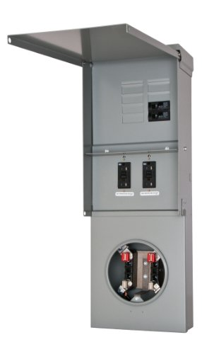 Siemens TL77NB Talon Temporary Power Outlet Panel with Two 20A Duplex Receptacles Installed Includes a Bottom Fed, Ring Type, Meter Socket Provision (Distribution Panel Power)