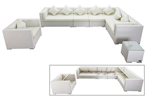 OUTFLEXX Exklusives Lounge-Set aus hochwertigem Polyrattan in weiß, 3-Sitzersofa, 2-Sitzer + 2 Mittelelemente, 1 Sessel + Beistelltisch, inkl. Kissenpolster, für 8 Personen, Boxfunktion, wetterfest