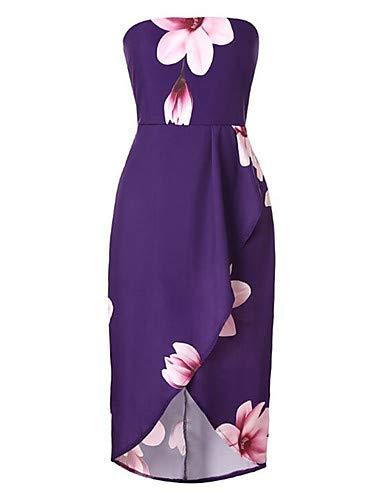 Abito Purple Stampa a YFLTZ sofisticato femminile geometrico linea Boho Pieghettato 6xEzSqR