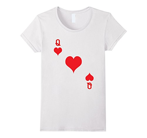 Womens Queen Of Hearts T-Shirt Playing Card Tee | Halloween Costume Small (Queen Of Hearts Clothes)