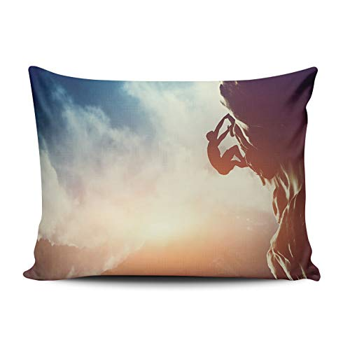 (WEINIYA Bedroom Custom Decor Silhouette of Man Rock Climbing in Mountain at Sunset Throw Pillow Cover Elegant Design One Side Printed Patterning 16x24 Inches)