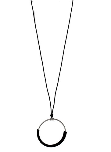 Spring Street Corded Circle Leather Oversize Pendant Long Necklace Silver Tone, Black