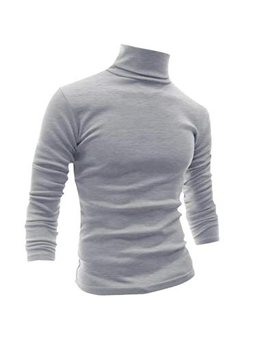 uxcell Men Slim Fit Lightweight Long Sleeve Pullover Top Turtleneck T-Shirt Light Grey S (US 34) ()