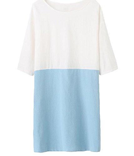Mogogo Des Femmes De Pull-over O-cou 3/4 Lin Longueur Blouses Patché Robe Chemise Bleu Clair