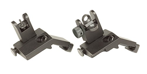 - 45 Degree Flip Up Battle Sights BUIS Picatinny Mount AR Pattern Rifle Iron Sights (Aluminum, Regular)