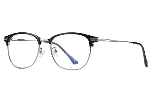 FEISEDY Blue Light Blocking Computer Eyeglasses Anti Blue Light Retro Semi Rimless Eyewear B2456