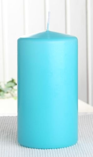 hellblau 1 Stück 10 x 7 cm Stumpenkerze