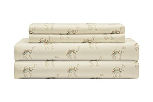 Elite Home Products Microfiber 90 Gsm Whimsical Printed Deep-Pocketed Sheet Set, Queen, Neutral Camel by Elite Home