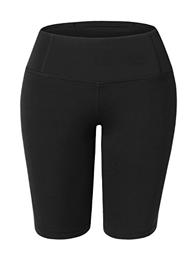 Doublju Womens Active Tummy Control Workout Legging Yoga Shorts with Plus Size