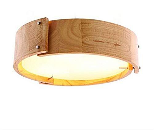 (YAYONG Chandeliers Oak Wood Round LED Pendant Lamp Oriental Monochrome Light Internal Window Restaurant Beige Light,Color1)