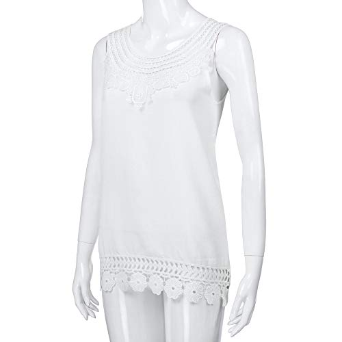 iYBUIA Women O-Neck Sleeveless Pure Color Lace Plus Size Vest Loose T-Shirt Blouse with Hollow Hem White by iYBUIA (Image #2)