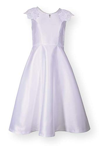 Bonnie Jean Girl's First Holy Communion Dress with Pearl Cross Trim (7) White -