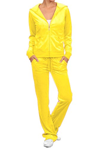 ViiViiKay Women's Soft Velour Tracksuit Athletic Zip Up Hoodie & Sweat Pants Set 001_YELLOW XL