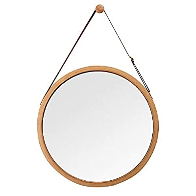 "Hanging Round Wall Mirror in Bathroom & Bedroom - Solid Bamboo Frame & Adjustable Leather Strap (Bamboo, 17-3/4"") - The Small Wall Mirror is suitable for bathroom, bedroom, foyer, dressing room and entrance, especially fits for SMALL room, besides it's a nice DECOR in house The Oval Wall Mirror is constructed with bamboo frame and ADJUSTABLE artificial leather strap, round nail head hook is included to hang the mirror on wall The artificial leather strap is ADJUSTABLE, convenient to adjust the mirror to a suitable level to anyone. The thick and solid bamboo frame isn't deformed and molded - mirrors-bedroom-decor, bedroom-decor, bedroom - 31Y6USOrBTL. SS400  -"