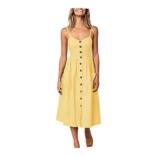 Striped Pocket Elegant Bohemian Beach Party Dresses Vestidos Plus Size,Yellow,M ()