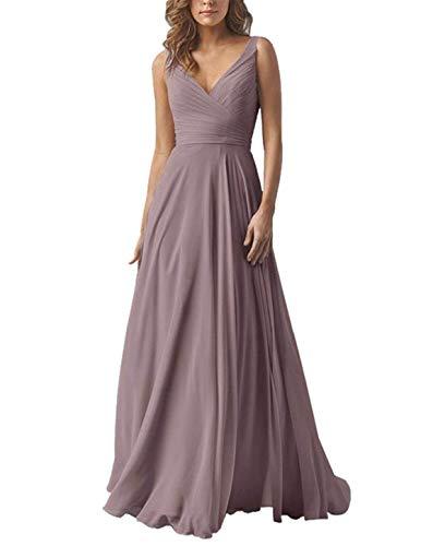 - Yilis Double V Neck Chiffon Bridesmaid Dress Long Wedding Evening Party Dress Plum Size16