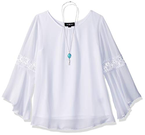 Amy Byer Girls' Big' Bell Sleeve Top with Lace Inset, New White, M ()