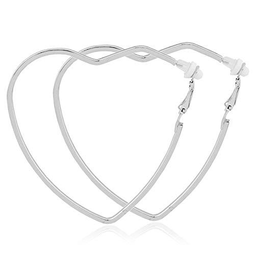 Aifeer Stainless Steel Clip on Earrings Large Heart Hoop Earrings Non Pierced for Women Girls Hypoallergenic