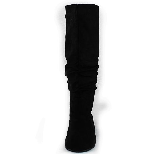 Shoes High Fashion Slip Boots Women's Velvet Mid Faux Slouch On Flat Suede Black Heel Calf Round Comfortable Toe Knee 141na