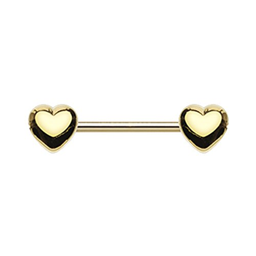 14G Inspiration Dezigns Classic Double Heart Nipple Barbell Ring (Sold Individually) (Golden)