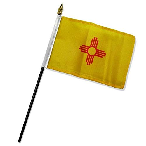 Ant Enterprise Pack of 12 (Dozen) New Mexico Miniature Desk & Table Flag Includes 12 Polyester Small Mini Stick Flags (4