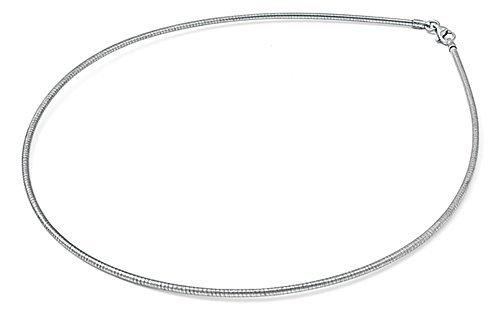 (Sterling Silver Round Omega Snake Chain 2mm 925 Rhodium Finish New Necklace 16