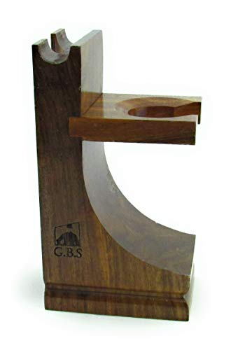 GBS Wood Brush and Razor Stand - Walnut Finish - For Standard Size Shave Brushes (Knots 22mm or less)