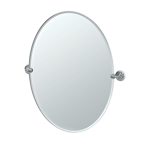 Gatco Designer II Frameless Oval Mirror, 32 Inch, - Frameless Mirrors Bathroom Pivoting