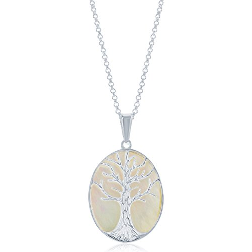 (Sterling Silver Natural Stone Mother of Pearl Tree of Life Oval Pendant w/ 18