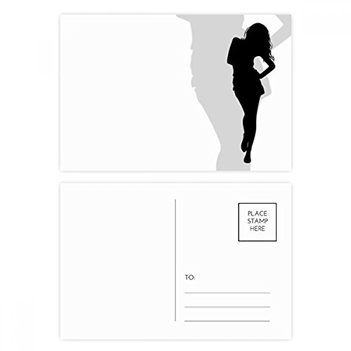 Hot Beautiful Woman Walking Silhouette Postcard Set Birthday Thanks Card Mailing Side 20pcs by DIYthinker