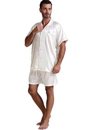 Mens Silk Satin Pajamas Set Sleepwear Loungewear White S