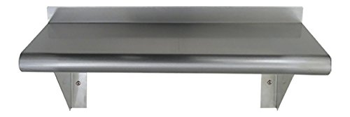 Whitehaus CUWS1024-SS Culinary Equipment 24-Inch Pre-Assembled Stainless Steel Shelf with Bull Nose Edge, Stainless Steel by Whitehaus by Whitehaus Collection