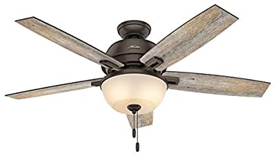 Hunter Indoor Ceiling Fan with light and pull chain control - Donegan 52 inch, Onyx Bengal, 53333