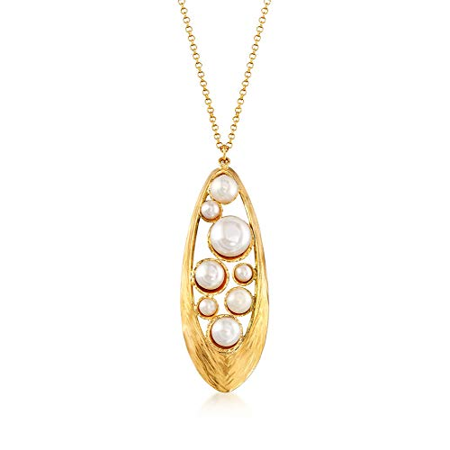 Pearl Cluster Drop Necklace - Ross-Simons 4-10mm Cultured Button Pearl Cluster Drop Necklace in 18kt Gold Over Sterling
