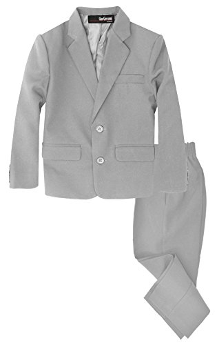 G218 Boys 2 Piece Suit Set Toddler to Teen (Large/12-18 Months, Silver)]()