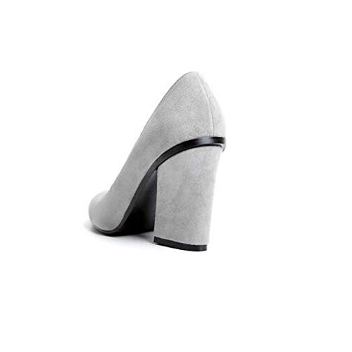 Chunky Heels Shoes Gray Black ZHZNVX Spring Women's Heel Pump Suede Black Basic HnBqwxp